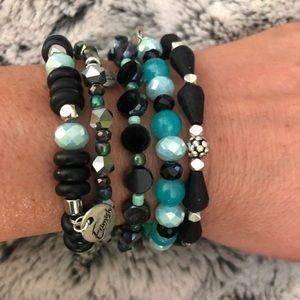 """Erimish """"Eden"""" stretch stack bracelet set (5)"""